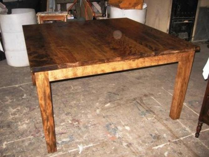 kitchen table made with 100% old wood n-1038 | le géant antique